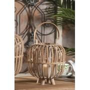 Felinar decorativ din bambus, cu suport lumanare, diametru 24x38 cm