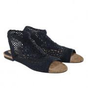 Nina Originals gehaakte schoenen met sleehak of platte hak, 38 - navy - platte hak
