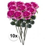 Bellatio flowers & plants 10x Paars/roze rozen Simone kunstbloemen 45 cm