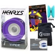 Henrys VIPER YoYo (Purple) Professional Ball Bearing YoYo +Instructional Booklet of Tricks + 75 Yo-Yo Tricks DVD & Travel Bag! Pro YoYos For Kids and Adults!