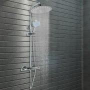 vidaXL Ensemble de douche à deux têtes et thermostat acier inoxydable