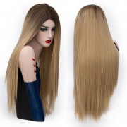 rosegal Center Parting Long Straight Colormix Party Synthetic Wig