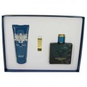Versace Eros Eau De Toilette Spray 3.4 oz / 100.55 mL + Shower Gel 3.4 oz / 100.55 mL + Gold Money Clip Gift Set Men's Fragrance