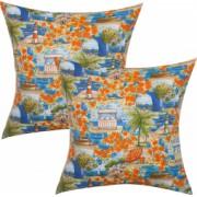 Set 2 fete de perna decorative BonDia Model Sunrise 601 43 cm x 43 cm Portocaliu/Albastru/Verde Flori/Marin