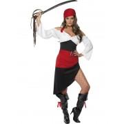 Costum carnaval femei pirat rosu negru