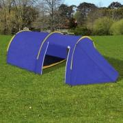 Водоустойчива палатка за къмпинг за 4 човека, цвят морско син/жълт