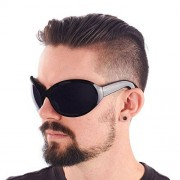 Largemouth Mens Industrial Style Wrap Sunglasses (Black)