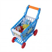 Mini Shopping Cart Precious Kid Toys Children Toddlers Pretend Role Play Food Fruits Playing Game with Groceries(with Food-Blue )
