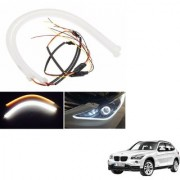 Auto Addict 2PCS 60cm (24 ) Car Headlight LED Tube Strip Flexible DRL Daytime Running Silica Gel Strip Light DC 12V Soft Tube Lamp Fancy Light (Yellow White) For BMW X1
