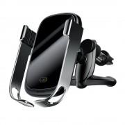 Baseus rock Smart Jármű Konzol vezeték nélküli töltő 10W Elektromos Auto Lock autós tartó Phone Bracket Air Vent Holder Qi töltő 10W infravörös érzékelő ezüst (WXHW01 - 0S) tok telefon tok hátlap