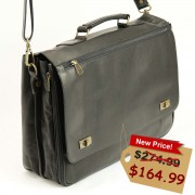 Men's Black Leather Briefcase and Laptop Bag