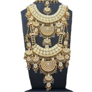 Most Beautiful Crystals Gold Plated Kundan Zerconic Complete Bridal Necklace Set