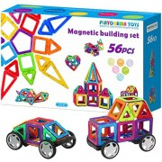 Magnetic Blocks Set for Kids, Toddlers, Boys Girls - 56 bpa Free Big Colorful Tiles with Strong Magnets - Educational stem 3D Building Magnet Toy for Creative Learning, Construction, Fun Play