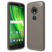 Capa de TPU Escovado para Motorola Moto E5, Moto G6 Play - Fibra de Carbono - Cinzento