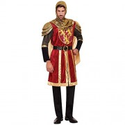 Bristol Novelty Adult Mens Red Knight Crusader Royal Armour Fancy Dress Lannister Lion Costume Medieval Arthur Dragon King Game Lord Outfit