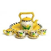 Unique Design Dollhouse Miniature Semi Matte Look Finish Porcelain Tea Set, 10 pcs Set, Lemon Design, Hand-Painted, Miniature Fairy Garden Accessories, DIY Charm Pendant Jewelry Supplies.