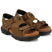 Lee Peeter Men's Brown Velcro Sandals