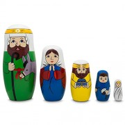 "5.75"" Joseph, Mary, and Jesus Nativity Scene Wooden Nesting Dolls"