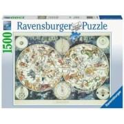 Puzzle Harta lumii creaturi fantastice Ravensburger 1500 piese