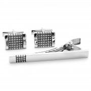 Northern Jewelry 925er Silber Manschettenknöpfe Und Krawattenklammer Set mit Noppen Motiv