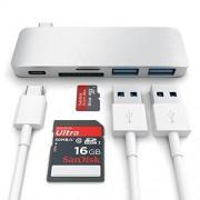 Satechi USB-C Pass Through USB Hub - мултифункционален хъб за свързване на допълнителна периферия за компютри с USB-C (сребрист)