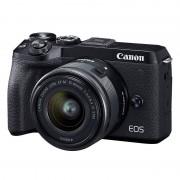 Canon EOS M6 Mark II hus, svart + EF-M 15-45/3,5-6,3 IS STM + sökare EVF-DC2