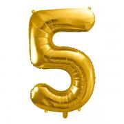 5. szám, fólia lufi, 86 cm, arany, tasakban