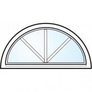 Dörrtema Fönster 3-glas energi argon halvmåne med spröjs vitmålat aluminium Modul 10x5