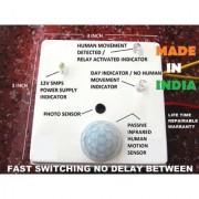 110v-220vAC PIR Human MOTION SENSOR No Delay Fast Switching Relay Switch Inbuilt Day Night Sensor 8cm Box Cabinet