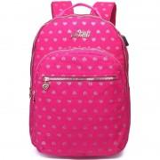 Marshmallow Hartjes backpack/rugzak roze met zilver 32 x 42 cm Marshmallow voor dames/meisjes