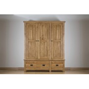 Devonshire Rustic Oak Triple Wardrobes with 2 Drawers