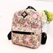 Mochila de Reloj Flores de Impresión Mochila de Lona de Compras Viajes Al aire libre mochilas para Las Mujeres rosa