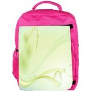 Snoogg Eco Friendly Canvas Green Layered Design Designer Backpack Rucksack School Travel Unisex Casual Canvas Bag Bookbag Satchel 5 L Backpack(Pink)