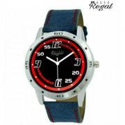 Mark Regal Denim Leather Strap Men's Wrist Watch