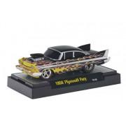 1958 Plymouth Fury (Black w/ Flames) * M2 Machines Ground Pounders Release 10 * 2012 Castline Premiu