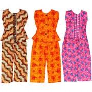 Wajbee Splendid Girls Cotton Night Suit Set of 3