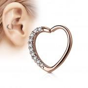 Piercing Street Piercing cartilage daith coeur strass plaqué or rose