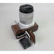 PU Leather Half Bottom Camera Protective Casing for Canon EOS 200D - Coffee