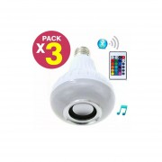 Pack 3 Ampolleta Led Parlante Bluetooth Música