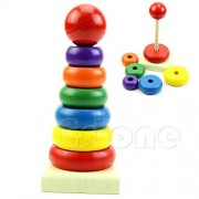 ChangeYOu Baby Rainbow Wooden Ring Tower Kid Stacking Stack Up Nest Learning Education Toy