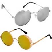 Rich Club Round Sunglasses(Golden, Silver)