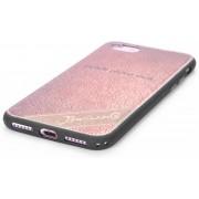 Hoesje geschikt voor Apple iPhone 7 en iPhone 8, gel case leder look, licht bruin