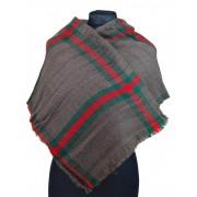 NEW BERRY dámská pletená šála / pléd BC717 hnědo-šedá