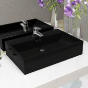 vidaXL Chiuvetă baie, orificiu robinet, ceramică 76x42,5x14,5 cm negru