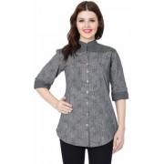 Women's / Girls Grey Printed Cotton Top/Kurti (Pack of 1) Small