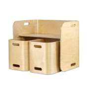 Keezi 3PC Kids Table and Chairs Set Toys Play Desk Children Shelf Storage Beige
