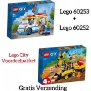 VOORDEELPAKKET LEGO CITY 60252-60253 / LEGO City 4+ Constructiebulldozer 60252 + LEGO City IJswagen 60253 (GRATIS VERZENDING)