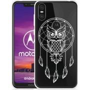 Motorola One Hoesje Dream Owl Mandala White