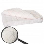 Wohndecke Karo, Tagesdecke Kuscheldecke Sofadecke, flauschig weiß Fellimitat 150x120cm ~ Variantenangebot