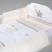 Klups Set lenjerii de pat 3 piese - H205 Iepuras bej/alb cu stelute